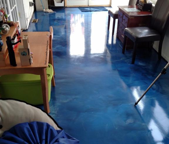 Blue Colored Metallic Epoxy Floor